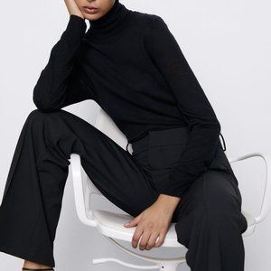 Zara  Black turtleneck wool Sweater L